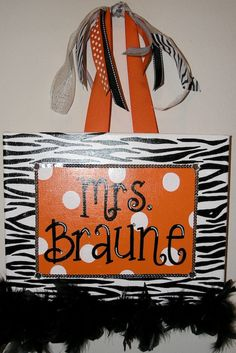Personalized Hand Painted Canvas Wall Art (11x14 orange zebra white polka dot example). $35.00, via Etsy.