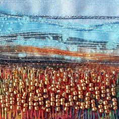 Embroidered card  Autumn landscape  5 inch card  by StitchMikki, $8.00  #autumn #landscape #embroidery #fabricart #beaded #handmade #cardcrafting