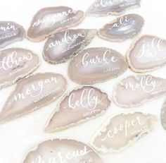 Shade of White Light Grey Agate Slices Wedding Calligraphy Place Cards Gift Table Wedding, Wedding Place Cards, Wedding Favors, Wedding Gifts, Wedding Souvenir, Wedding Wishes, Wedding Card, Unique Wedding Invitations, Wedding Stationary