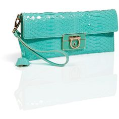 SALVATORE FERRAGAMO Turquoise Python Afef Clutch ($1,130) ❤ liked on Polyvore
