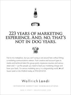 Wallrich Landi agency promotional ad; performed as work for hire while employed at Wallrich Landi; Graphic Designer: Nancy L Hansen