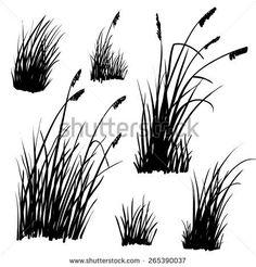 Set of hand drawn beach grass. Vector. - stock vector