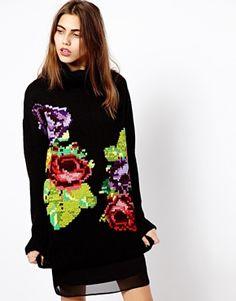River Island Rose Print Sweater Dress
