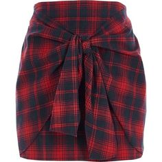 River Island Red check tie front mini skirt (155 BRL) ❤ liked on Polyvore featuring skirts, mini skirts, bottoms, red, women, short purple skirt, short skirts, high waist skirt, red skirt and high-waisted skirt