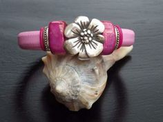 SALE -Pink Leather with Hibiscus and Mauve-Lilac Ceramic Bead Bracelet by MimiWellsCreations for $30.00