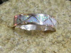 Native American Navajo Indian Opal Inlayed Wedding Band Ring Sterling | eBay