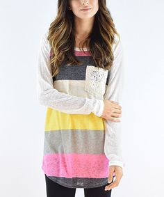 Love this éloges Yellow Stripe Crochet-Pocket Tunic by éloges on #zulily! #zulilyfinds