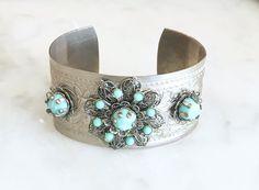 Vintage 60s 70s Filigree Flower Cuff Bracelet Etched Silver Boho Blue Turquoise Stones 1960s 1970s
