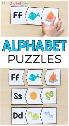 These beginning sounds alphabet puzzles are a hands-on way for preschoolers and kindergarten students to learn letters and letter sounds. Zoo Phonics, Preschool Literacy, Kindergarten Activities, Activities For Kids, Preschool Ideas, Phonics Games, Letter N Activities, English Activities, Alphabet Activities