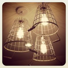 DIY Cage Pendant Light.  Great tutorial on making these by Whipperberry