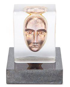 Kosta Boda 'Artglass' Limited Edition Face Sculpture by Bertil Vallien