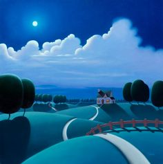 Under The Moonlight, 24x24 oil, Paul Corfield