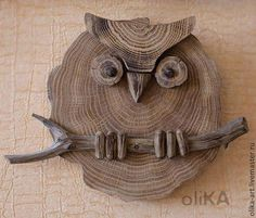 Fair Masters - p . - Wood How to Crafts Wood Log Crafts, Wood Slice Crafts, Wooden Owl, Wooden Animals, Wooden Desk, Driftwood Projects, Driftwood Art, Owl Crafts, Wood Creations