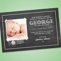 Baby Thank You Card Slate Bowtie GRR From Planet Cards BABY - Card template free: birth announcement thank you cards