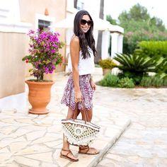 Fashion | Outfit | Sandals | Skirt | Shirt | Bag | Summer | Kat Tanita