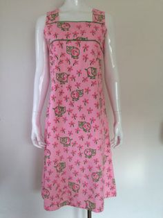 Vintage-1960s-Dress-Pink-Green-With-PIGS-VESTED-GENTRESS-Label-S-M