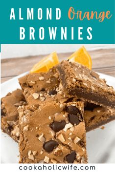 Almond Orange Brownies are easy made from scratch brownies that you're going to love. #brownies #baking #dessert #AlmondOrangeBrownies White Chocolate Bark, Chocolate Coating, Chocolate Brownies, Orange Brownies, Best Brownies, Orange Candy, Cooking Challenge, Trifle Pudding, Brownie Ingredients