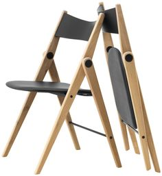 Cadeiras - Qualidade da BoConcept Oslo folding chair, black leather look/oak. Super cool folding chair by BoConcept