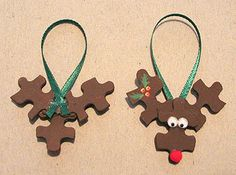 Reindeer Puzzle Ornaments (complete w/ photos) - OCCASIONS AND HOLIDAYS - Here are easy ornaments you can make out of that puzzle that is missing a few pieces.Take three puzzle pieces that are shaped like a double cross and Easy Ornaments, Reindeer Ornaments, Holiday Ornaments, Christmas Decorations, Reindeer Craft, Christmas Math, Christmas Activities, Christmas Time, Christmas Ideas