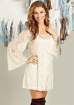 Love this dress, maybe with my brown boots or cowboy boots? Plus, it's called the Alicia Lace Dress :D