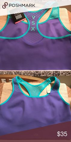 VSX COMPRESSION SPORTS BRA New, NEVER BEEN WORN. Purple & teal. High impact, compression material. 🏃♀️🏃🏽♀️🏃🏿♀️This bra will keep ladies right where they are supposed to be. No bouncing around on the tres mill!!! 😉 Size Large. Victoria's Secret Intimates & Sleepwear Bras