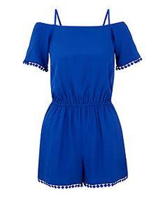 Teens Blue Open Shoulder Crochet Trim Playsuit  | New Look