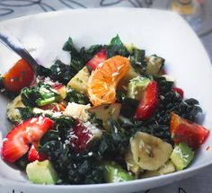 Allyson Kramer at Manifest Vegan's Fruity Kale Salad with Coconut Lime Dressing... This woman is a GENIUS.