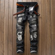 >> Click to Buy << 2017 Popular Sliver Thread Embroidery Skull Jeans For/High Quality Slim Fit Black Biker Jeans Size 32 34 36 38 #Affiliate