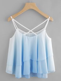 Ombre Crisscross Layered Swing Cami Top -SheIn(abaday)