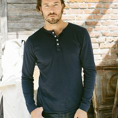 Navy Henley made of Pima jersey cotton in L.A., USA by Buck Mason. $48