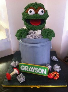 Oscar The Grouch Trash Can 9 Stuffed Plush Toy Sesame Street Place 1 Of 6 See More