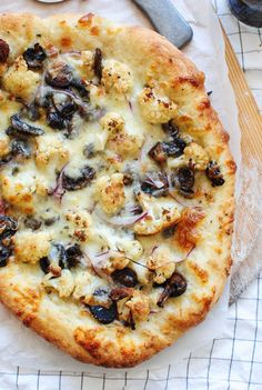Roasted Cauliflower and Mushroom Pizza - Bev Cooks