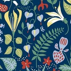 Scandinavian Designers 2744 Vlies-Tapete Stig Lindberg Herbarium Blumen und Blüten bunt auf Dunkelblau