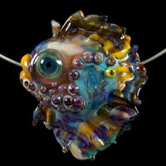 Glass Lampworking Fish Bead- Turquoise Purple Dolphin Nose Fish