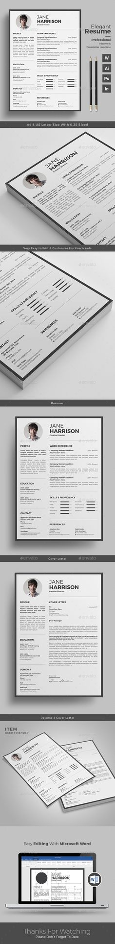 Professional Resume Design Word Template with Cover Letter - template for resume word