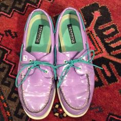 SPERRY topsider Patent Lavender w/ Aqua boat shoes Cute shoes!!! Lavender colored SPERRYS with aqua colored bungee cord shoe strings! These are a 6.5M, 39.5EU, AND UK 6. For reference I wear an 8/8.5 in most shoes and these fit fine. They've been previously loved so please note the wear. No dust bag or box. Sperry Top-Sider Shoes Flats & Loafers
