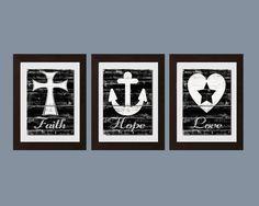 Faith Hope Love Wall Art Shabby Chic Kitchen Wall by FKArtDesign