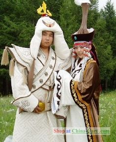 One style of traditional-style Mongolian wedding outfits.