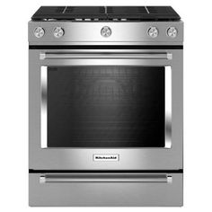 KitchenAid 30 in. 5.8 cu. ft. Slide-In Gas Range with Self-Cleaning Convection Oven in Stainless Steel - KSGG700ESS - The Home Depot