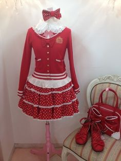red and white casual lolita