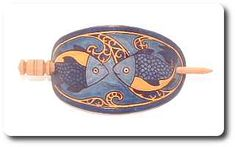 HPB14 Hand painted leather barrette, hair slide