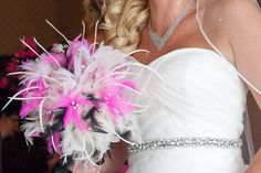 #wedding photography | #pink, #black and #white #feather bouquet