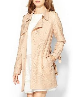 Piperlime lace trench coat in pink/neutral