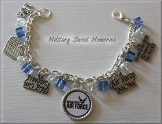 $22.50 is not bad. I will have one ;)   Bracelet is Silver Plated Size 7 ½  If you need different size we offer sizes from 6-8 1/2  Charms are made of Pewter  8mm White Crystals and Blue Cube Bead Crystals    If you need to change the size of the bracelet, ple...