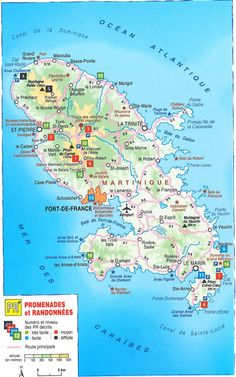 Carte promenades et randonnées en #Martinique Southern Caribbean, Caribbean Cruise, South America Destinations, Vacation Destinations, Gros Morne, French West Indies, Windward Islands, Saint Martin, France