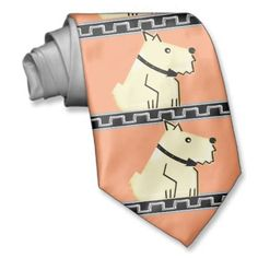 Art Deco Dog, Black+Silver Greek Key+Salmon Bg - Neckties - Let your personality shine thru! Are you boring? Stick to old school stripes; pretentious? Go for foxhunt + yachting themes. But if you're adventurous, fun loving + kind to animals, IconDoIt's original design is a great choice. On a salmon background, cute white terriers sit on black + silver Greek Key ledges. Sold only @ www.zazzle.com/icondoit?rf=238155573613991097&tc=pnt #artdecoties #dogneckties #originalartties
