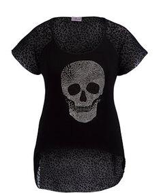 Black (Black) Praslin Black Skull Dip Hem Top   270831501   New Look