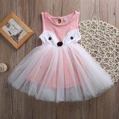 Fox Tutu Dress - Girls Fox Dress - Fall Dress for Girls - Pink Fox Dress - Who Let the Fox Out - Ruffles & Bowties Bowtique - Calgary Girls Formal Dresses, Little Girl Dresses, Flower Girl Dresses, Lace Dresses, Tulle Dress, Toddler Dress, Toddler Girl, Fox Party, Fox Costume