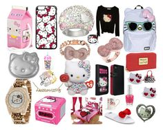 """I love hello kitty"" by rabaudlisa on Polyvore featuring Noir, Olympia Le-Tan, Hello Kitty, Swarovski, Victoria Couture, Earth Therapeutics, Zales, Loungefly and Jacmel"