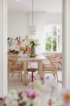I could live here. Love those pendant lights, pale wood floors, simple furnishings. Home in Sweden.